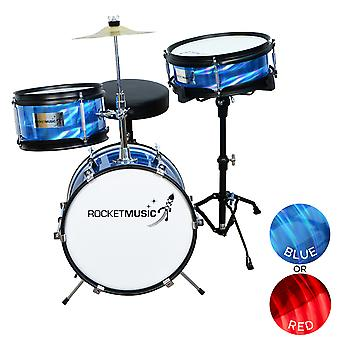 Rocket 3 Piece Junior Drum Kit - Available in Blue or Red