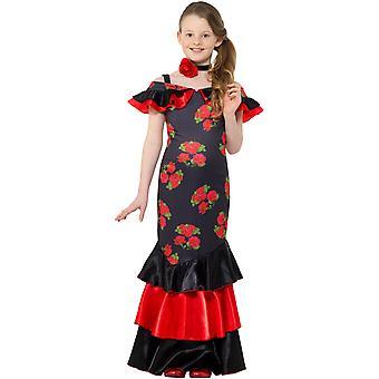 Flamenco dansare flicka barn kostym spansk flicka Carnival Carnival