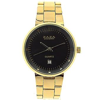 Zaza London Gents Date Grey Dial Goldtone Metal Strap Dress Watch MMB640/02
