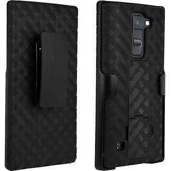 LG K8 V - 黒のベライゾン スタンド シェル ホルスター コンボ