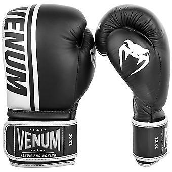 Escudo de Venum Pro gancho y lazo de cuero guantes de boxeo - negro
