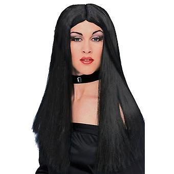 "24 ""Long Witch Black Mortisha Cher Gothic Vampiress mulheres peruca traje"