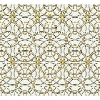 Versace Heritage Plata Gris Oro Papel Pintado Medusa Ornament Metalizado Paste Wall