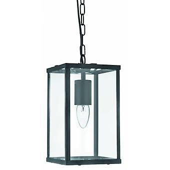 1 Light Ceiling Lantern Pendant Matt Black, Glass Panels