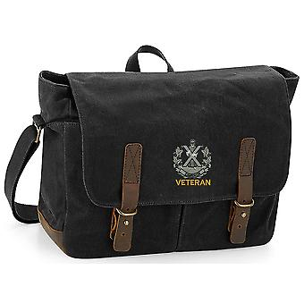 Queens Own Cameron Highlanders Veterano - Concesso in licenza British Army ricamato Waxed Canvas Messenger Bag
