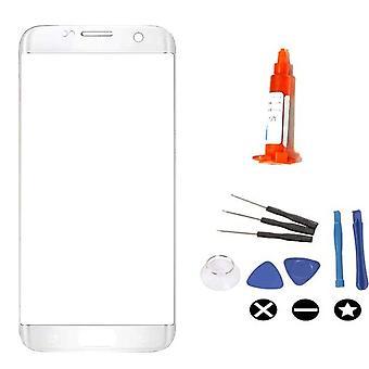För Samsung Galaxy S7 Edge för glas reparationssats-silver