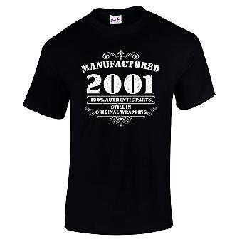 Mannen ' s 18e verjaardag T-shirt vervaardigd 2001 nieuwigheid giften voor hem