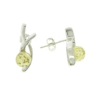 Nova Silver - Women's lobe earrings with amber - silver sterling 925 - cod. aj/e15l