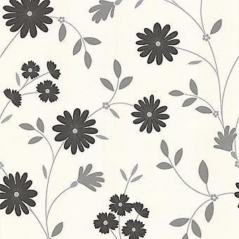Floral Glitter Wallpaper Black Grey White Shimmer Flowers Vinyl Superfresco