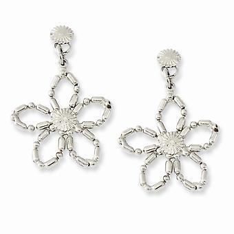 Silverton Kirurgiskt stål post Flower Post Long Drop Dangle Örhängen Mäter 30x22mm Breda smycken gåvor för kvinnor