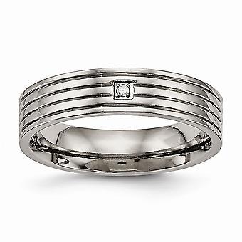 5mm Titan poliert Grooved Komfort zurück CZ Zirkonia simuliert Diamant Ring Schmuck Geschenke für Frauen - Ring Größe: