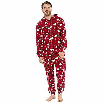 Mens Xmas Print Fleece Onesei Sleepwear Loungewear