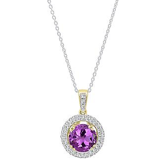 Dazzlingrock Collection 14K 6 MM Round Cut Amethyst & White Diamond Women's Double Halo Pendant, Yellow Gold