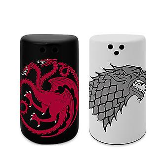 Game of Thrones salt and pepper stray black/white/red, made of ceramic, in gift box.