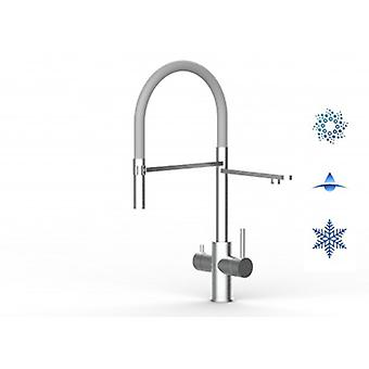 5 Way Inox Filter Tap Ideal For Professional Sparkling, Plain And Cooled Water Systems - Brushed Finish - Grey - 450