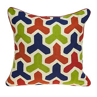 """20"""" x 7"""" x 20"""" Handmade Multicolored Pillow Cover With Down Insert"""