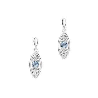 השילוש הקדוש קשרים בצורת אליפסה הרבעה שחרור זוג עגילים-כחול אמיתי טופז אבן חן