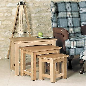 Mobel Oak Nest of 3 Coffee Tables Brown - Baumhaus