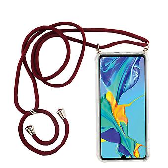 Phone Chain for Huawei P30 - Smartphone Necklace Case with Ribbon - Cord with Case to Hang in Red