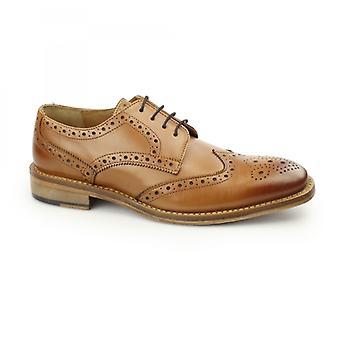 Kensington Edwin Mens Leather Brogue Oxford Shoes Tan