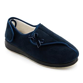 Padders Penny Ladies Microsuede Super Wide (4e/6e) Slippers Navy
