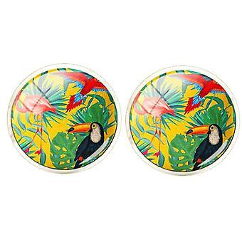 Bassin and Brown Tropical Birds Cufflinks - Yellow/Green/Blue