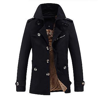 Allthemen mænd ' s frakke solid fortykket varm revers bomuld overfrakke