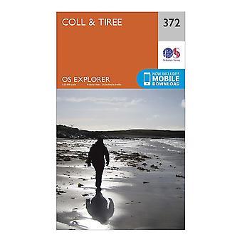 New Ordnance Survey Explorer 372 Coll & Tiree Map Orange