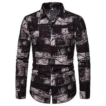 Allthemen Men's Casual Retro Lapel Long-sleeve Geometric Pattern Shirt Top