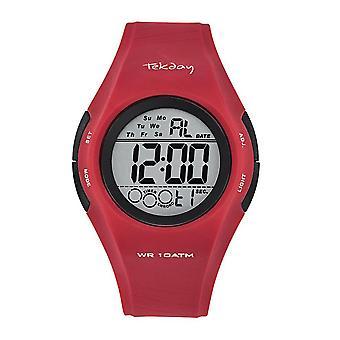 Tekday 655976 Watch - Digital Multifunction Silicone Red Men