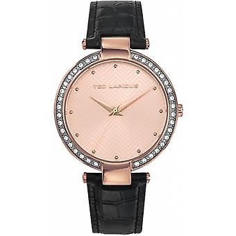 Ted Lapidus A0732URPN - gecrimpt Uhrengehäuse Leder schwarz Stahl Dor Rose Frau