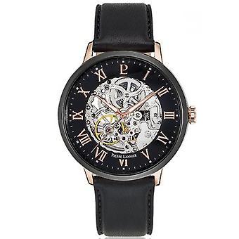 Bekijk Pierre Lannier 324B433-horloge automatische doos staal goud steeg gepolijst zwarte wijzerplaat zwart zwart lederen armband zwart mannen