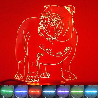 Englische Bulldogge Farbwechsel LED Acryl Licht