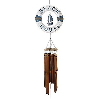 Blue & White Life Ring Sailboat Wind Chime
