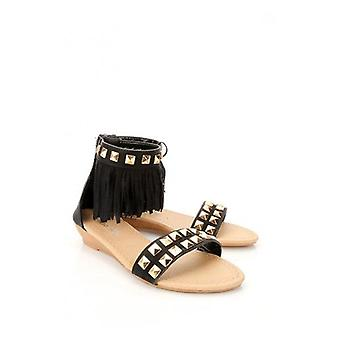 Monaco Studded Fringe Tassel Gladiators In Black