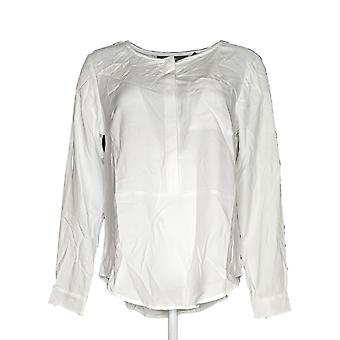 Elizabeth et Clarke Femmes apos;s Top Stain-Repellent Roll-Tab Slv Blanc A310422
