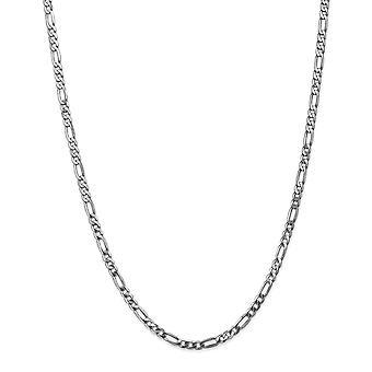 14k hvitt gull hummer klo lukking 4,0 mm flat figaro kjede armbånd smykker gaver til kvinner - lengde: 7 til 8