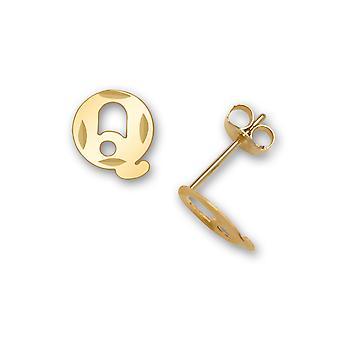 14k sárga arany levél neve személyre szabott monogram kezdeti Q bélyegzés a fiúk vagy lányok fülbevaló intézkedések 7x6mm