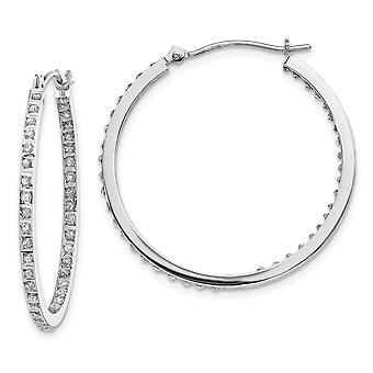 14k White Gold Polished Diamond Fascination Round Hinged Hoop Earrings Measures 30x2mm Jewelry Gifts for Women