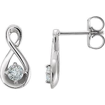 14k White Gold Polished 0.2 Dwt Diamond Infinity Style Earrings Jewelry Gifts for Women