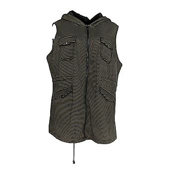 Lisa Rinna Collectie Dames's Plus Top Utility Knit Vest Brown A294462