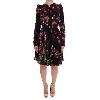 Dolce & Gabbana Black Silk Stretch Purple Tulip Waisted Above Knee Sheath Dress
