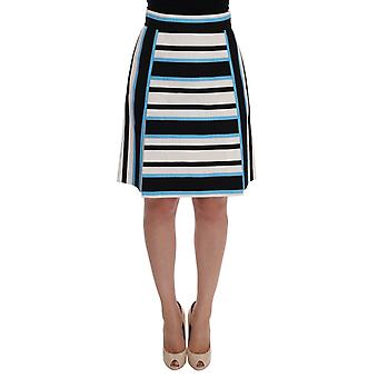 Dolce & Gabbana White Black Blue Striped Cotton Skirt