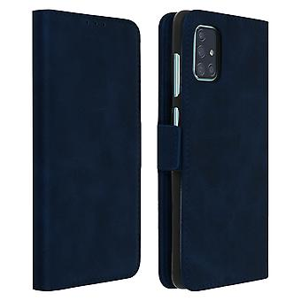 Stand Folio Cover with Card Slots for Samsung Galaxy A71 - Dark Blue