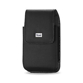 Reiko Leather Vertical Pouch With Metal Logo In Black (5.8X3.2X0.7 Inches)