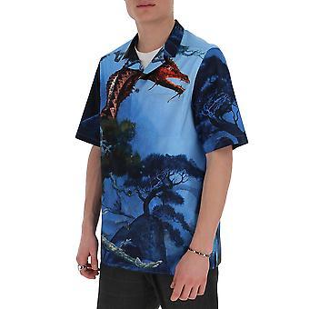 Valentino Tv0aa77166n87m Männer's blaue Baumwolle Shirt