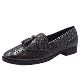 Jana Soft Line 24260 Aylesbury Modern Wide Fit Wingtip Brogue Style Loafer In Grey Patent