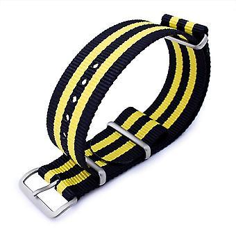Strapcode n.a.t.o حزام ووتش miltat 20mm أو 22mm g10 العسكرية حزام حزام حزام النايلون الباليستية الذراع، الرملي - الأسود والأصفر
