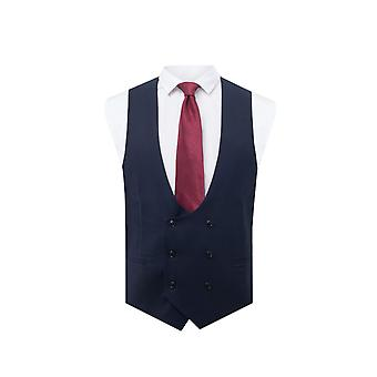 Avail London Mens Navy Waistcoat Skinny Fit Double Breasted