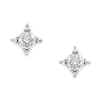 14k White Gold CZ Cubic Zirconia Simulated Diamond Medium Star Screw back Earrings Measures 9x9mm Jewelry Gifts for Wome